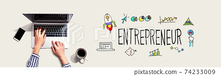 Entrepreneur with person using laptop 74233009
