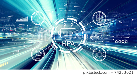Robotic Process Automation theme with high speed motion blur 74233021