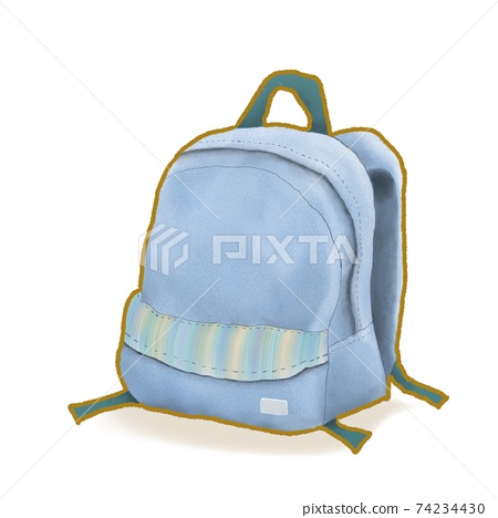 Navy blue backpack bag, a digital painting of travel bag or school bag isometric cartoon icon raster illustration on white background. 74234430