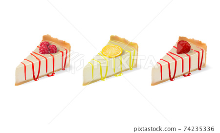 Realistic vector cheesecake slices with raspberry lemon and strawberry fillings isolated on white background 74235336