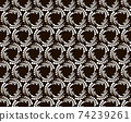 Seamless pattern with halftone hexagon dots in vortex form. Geometric art eps10 vector. 74239261
