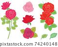 玫瑰花朵,手繪插畫變化集 74240148