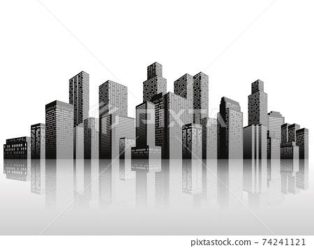 고층 빌딩 도시 배경 소재 74241121