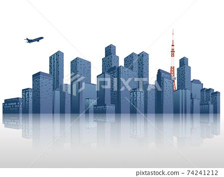 摩天大樓大城市背景素材 74241212