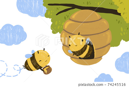 Cute Kawaii Happy Funny Honey Bee flying in the tree hive with clouds 74245516