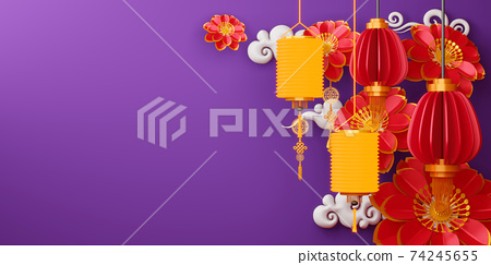 Chinese new year, Happy new year with traditional sign. 74245655