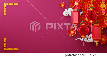 Chinese new year, Happy new year with traditional sign. 74245656