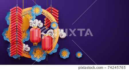 Chinese new year, Happy new year with traditional sign. 74245765