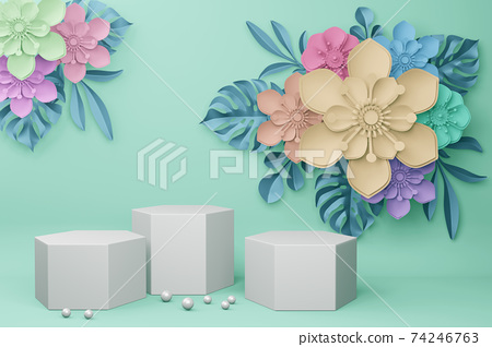 Empty display with flower for presentation 3d rendering. 74246763