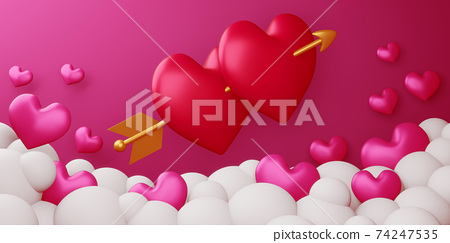 Valentine concept background, Love card, 3d rendering. 74247535