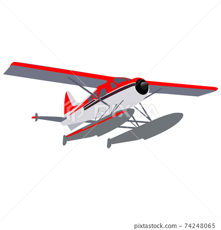 Small private seaplane on pontoons in gray-red coloring. 74248065