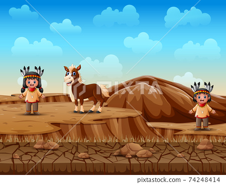 Cartoon children native Indian American in dry land landscape 74248414