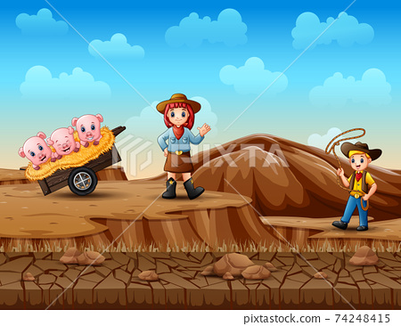 Cowboy and cowgirl herding pigs in the desert 74248415