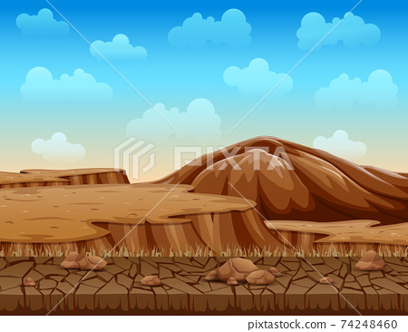 Landscape of dry cracked ground illustration 74248460
