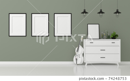 Interior mock up with photo frame on wall, 3d rendering. 74248753