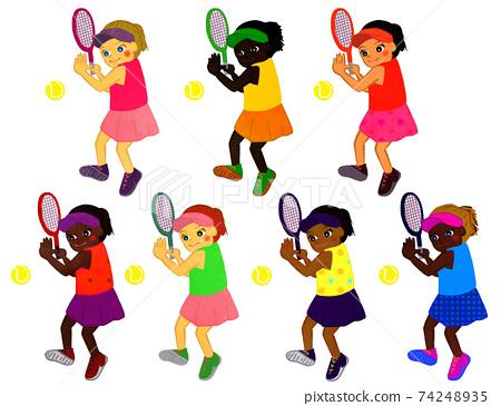 테니스를하는 여자 74248935