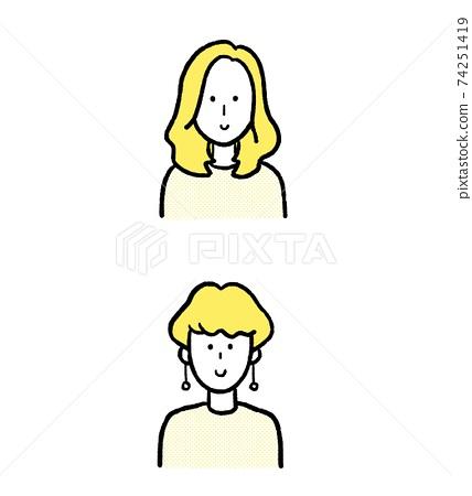 婦女的髮型中和快捷方式插圖素材圖標 74251419