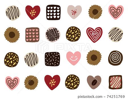 情人節心形巧克力和餅乾 74251769