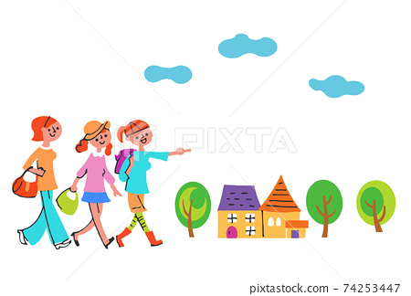 三個女人走路和一所房子 74253447