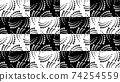 Seamless pattern with halftone dots in vortex form on checkered rectangles. Geometric art eps10 vector. 74254559