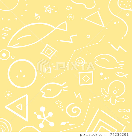 Hand drawn fish and geometric shape background 74256291