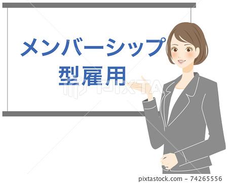 一名穿著西裝的婦女解釋會員制就業 74265556