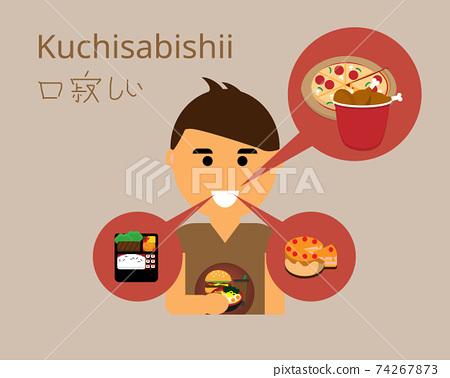 kuchisabishii or lonely mouth syndrome and feel like eating even you are full  vector 74267873
