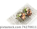 頭皮的兩個生魚片方盤拼盤白色背景字符空間空的鳥瞰圖 74270611