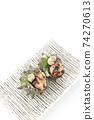 頭皮的兩個生魚片方盤拼盤白色背景字符空間空的鳥瞰圖 74270613