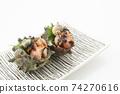 頭巾殼生魚片2片方形板白色背景字符空間為空 74270616