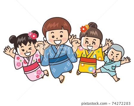 浴衣七夕夏季節中的孩子 74272283