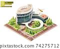 Vector isometric hospital building 74275712
