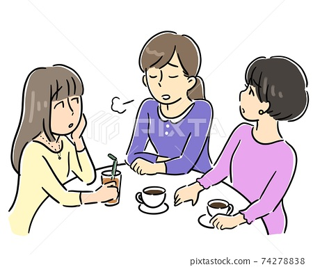 여자 회에서 고민을 상담하는 여성 74278838