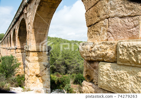 Las Fareras Aqueduct in Tarragona, a suburb of Barcelona, Spain 74279263