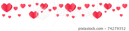 Seamless web banner of hanging paper hearts for website header decor and package design. 74279352