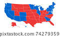 US election results map. American Presidential Election results. 74279359
