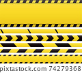 Seamless barricade tapes and web banners. Barrier line and blank construction border tape 74279368