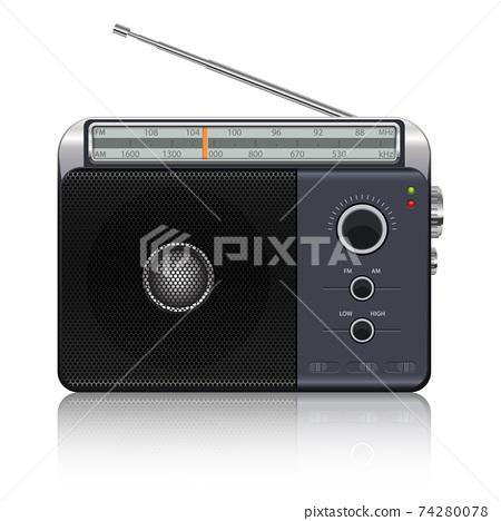Portable vintage radio vector design illustration isolated on white background 74280078
