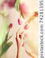 bouquet of tulips levitation woman hand 74281395