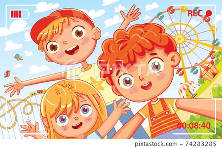 Selfie on the amusement park 74283285