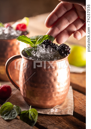 Moscow Berry Mule highball vodka cocktail is a long drink with fresh lime juice, ginger beer and berries 74287036