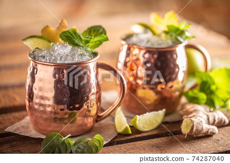 Moscow Mule highball cocktail and a long vodka drink with fresh lime, ginger beer, and mint 74287040