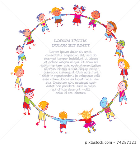 Childrens drawing a round dance, made with colored chalks 74287323