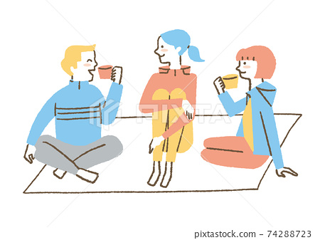 양탄자에 앉아 이야기 남녀 74288723