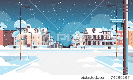 city facade buildings empty no people urban street real estate houses exterior winter snowfall cityscape 74290197