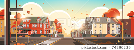 city facade buildings empty no people urban street real estate houses exterior sunset autumn cityscape 74290239