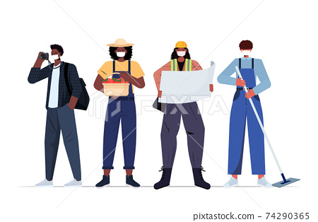 set mix race people of different occupations wearing masks to prevent coronavirus pandemic labor day celebration 74290365