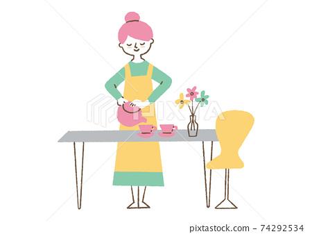 放茶的婦女 74292534