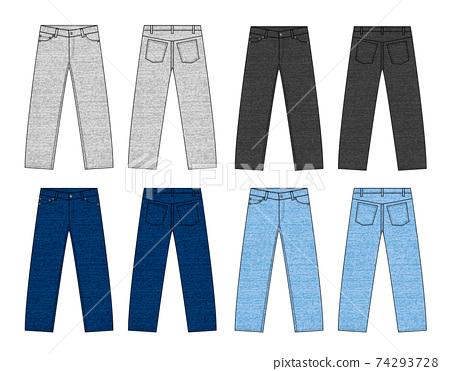6-pocket slim / slender / denim / jeans vector template illustration 74293728