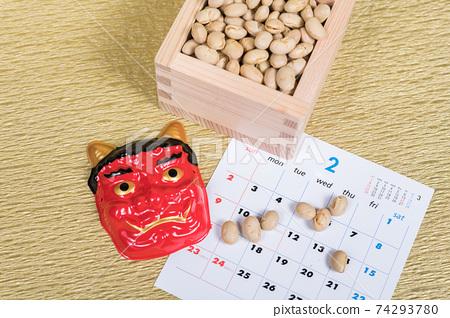 [Setsubun image demon beans Masu] 74293780